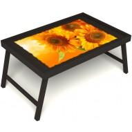 Столик для завтрака в постель «Солнечный букет» без ручек цвет венге