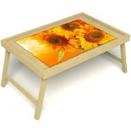Столик для завтрака в постель «Русская берёза», «Солнечный букет» без ручек цвет светлый