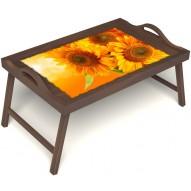 Столик для завтрака в постель «Русская берёза», «Солнечный букет» с ручками цвет орех