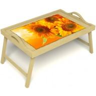 Столик для завтрака в постель «Русская берёза», «Солнечный букет» с ручками цвет светлый