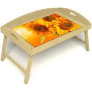 Столик для завтрака в постель «Русская берёза», «Солнечный букет» с 3-мя высокими бортиками цвет светлый