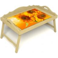 Столик для завтрака в постель «Русская берёза», «Солнечный букет» с 3-мя фигурными бортиками цвет светлый