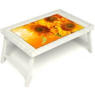 Столик для завтрака в постель «Солнечный букет» без ручек цвет белый