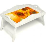 Столик для завтрака в постель «Русская берёза», «Солнечный букет» с фигурным бортиком цвет белый