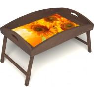 Столик для завтрака в постель «Русская берёза», «Солнечный букет» с высоким бортиком цвет орех