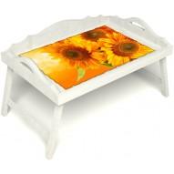 Столик для завтрака в постель «Русская берёза», «Солнечный букет» с 3-мя фигурными бортиками цвет белый