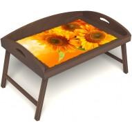 Столик для завтрака в постель «Русская берёза», «Солнечный букет» с 3-мя высокими бортиками цвет орех