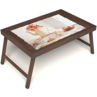 Столик для завтрака в постель «Цветы на веранде» без ручек цвет орех
