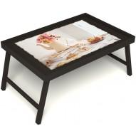 Столик для завтрака в постель «Цветы на веранде» без ручек цвет венге