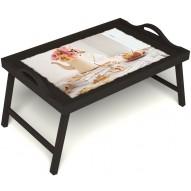 Столик для завтрака в постель «Цветы на веранде» с ручками цвет венге