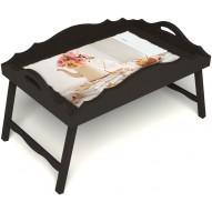 Столик для завтрака в постель «Русская берёза», «Цветы на веранде» с фигурным бортиком цвет венге