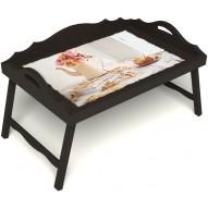 Столик для завтрака в постель «Русская берёза», «Цветы на веранде» с 3-мя фигурными бортиками цвет венге