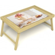Столик для завтрака в постель «Цветы на веранде» без ручек цвет светлый