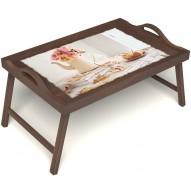 Столик для завтрака в постель «Цветы на веранде» с ручками цвет орех