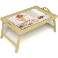Столик для завтрака в постель «Цветы на веранде» с ручками цвет светлый
