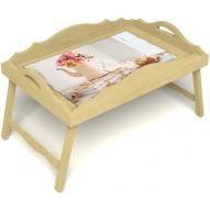 Столик для завтрака в постель «Цветы на веранде» с фигурным бортиком цвет светлый