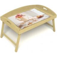 Столик для завтрака в постель «Цветы на веранде» с 3-мя высокими бортиками цвет светлый