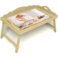 Столик для завтрака в постель «Цветы на веранде» с 3-мя фигурными бортиками цвет светлый