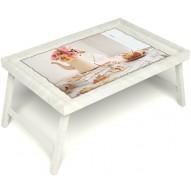 Столик для завтрака в постель «Цветы на веранде» без ручек цвет белый