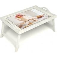 Столик для завтрака в постель «Цветы на веранде» с ручками цвет белый