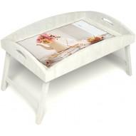 Столик для завтрака в постель «Цветы на веранде» с высоким бортиком цвет белый