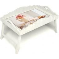 Столик для завтрака в постель «Цветы на веранде» с фигурным бортиком цвет белый