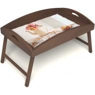 Столик для завтрака в постель «Цветы на веранде» с высоким бортиком цвет орех
