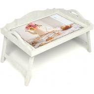Столик для завтрака в постель «Цветы на веранде» с 3-мя фигурными бортиками цвет белый