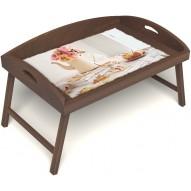 Столик для завтрака в постель «Русская берёза», «Цветы на веранде» с 3-мя высокими бортиками цвет орех