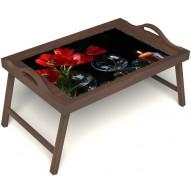 Столик для завтрака в постель «Весенний вечер» с ручками цвет орех