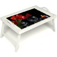 Столик для завтрака в постель «Весенний вечер» с ручками цвет белый