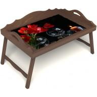 Столик для завтрака в постель «Весенний вечер» с 3-мя фигурными бортиками цвет орех