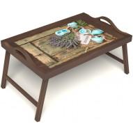 Столик для завтрака в постель «Запах лаванды» с ручками цвет орех