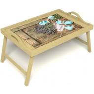 Столик для завтрака в постель «Запах лаванды» с ручками цвет светлый