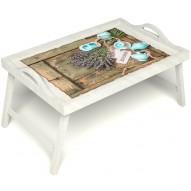 Столик для завтрака в постель «Запах лаванды» с ручками цвет белый