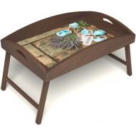 Столик для завтрака в постель «Запах лаванды» с высоким бортиком цвет орех