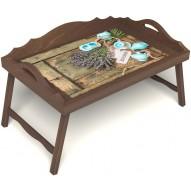 Столик для завтрака в постель «Запах лаванды» с 3-мя фигурными бортиками цвет орех