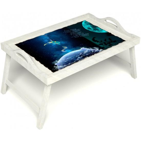 Столик для завтрака в постель «Русская берёза», «Маленький принц» с ручками цвет белый