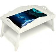 Столик для завтрака в постель «Русская берёза», «Маленький принц» с фигурным бортиком цвет белый