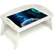 Столик для завтрака в постель «Русская берёза», «Маленький принц» с 3-мя высокими бортиками цвет белый