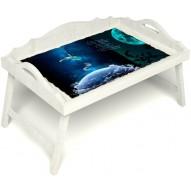 Столик для завтрака в постель «Русская берёза», «Маленький принц» с 3-мя фигурными бортиками цвет белый