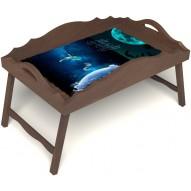 Столик для завтрака в постель «Русская берёза», «Маленький принц» с фигурным бортиком цвет орех