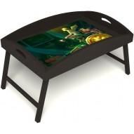 Столик для завтрака в постель «Русская берёза», «Минуты волшебства» с высоким бортиком цвет венге