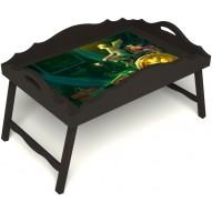 Столик для завтрака в постель «Русская берёза», «Минуты волшебства» с фигурным бортиком цвет венге
