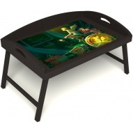 Столик для завтрака в постель «Русская берёза», «Минуты волшебства» с 3-мя высокими бортиками цвет венге