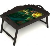 Столик для завтрака в постель «Русская берёза», «Минуты волшебства» с 3-мя фигурными бортиками цвет венге
