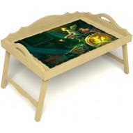 Столик для завтрака в постель «Русская берёза», «Минуты волшебства» с 3-мя фигурными бортиками цвет светлый