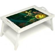 Столик для завтрака в постель «Русская берёза», «Минуты волшебства» с ручками цвет белый