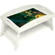 Столик для завтрака в постель «Русская берёза», «Минуты волшебства» с высоким бортиком цвет белый