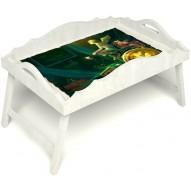 Столик для завтрака в постель «Русская берёза», «Минуты волшебства» с фигурным бортиком цвет белый